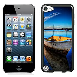 Fashion Custom Designed Cover Case For iPod Touch 5 Phone Case With Deserted Docked Wooden Boat_Black Phone Case