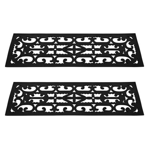 Non-Slip Stair Tread Mats 2 Piece by Pure Garden (Outdoor Step Mats Rubber)