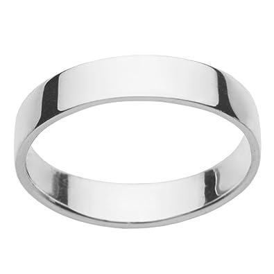 925 Sterling Silver 4mm Flat Band Wedding Ring Women Men Xjk60frpk