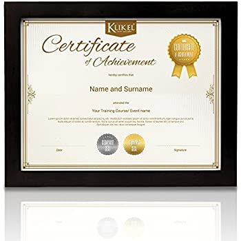 Amazon Com Klikel Black Diploma Frame 8 5 X 11 Solid Wooden Document Certificate And Photo