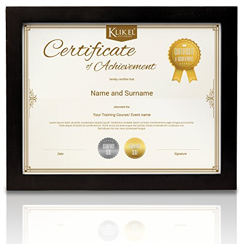 Klikel Black Diploma Frame -8.5 X 11 Solid Wooden Document, Certificate And Photo Frame – Wall Hanging Mount And Table Stand - For Home And Office