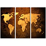 Picture Sensations Framed Huge 3-Panel Modern World Map Giclee Canvas Art