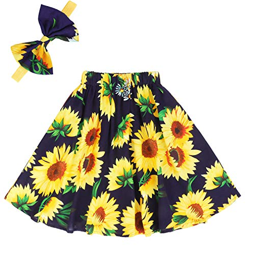 Girls Floral Skirts Kids Flutter Maxi Skirt Party Summer Clothes Boho Toddlers Beach Long Dress Sunflower Navy 01 8-9 Years -
