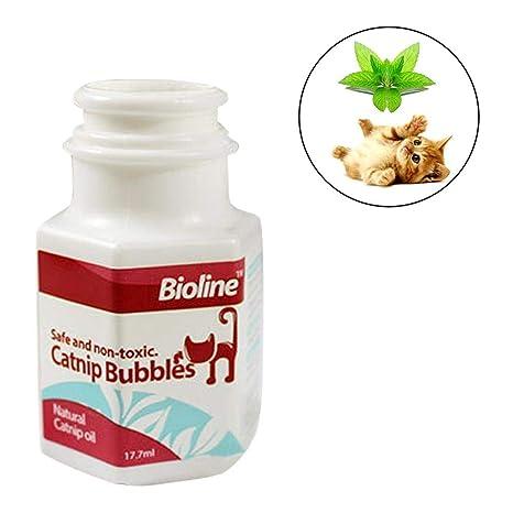Depruies Catnip Bubbles Catnip Aceite Esencial Spray Interactivo Juguetes inofensivos Burbujas Juguetes Divertido Juego con Gatos