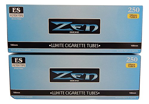 Cigarette Filter Tubes - Zen Light 100's Cigarette Tubes -2 Pack, 250 ct per box
