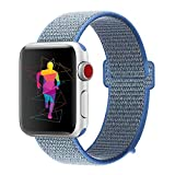 INTENY Sport Band Compatible with Apple Watch 38mm 40mm, Nylon Sport Loop, Strap Replacement for iWatch Series 4, Series 3, Series 2, Series 1 (Tahoe Blue, 38mm 40mm)