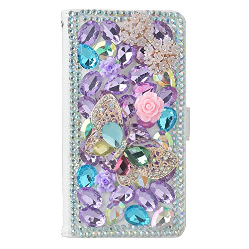 KAKA(TM Fashion Phone Cover 3D Handmade Irregularity Bling Colorful Crystal Design PU Leather Wallet Case Flower Butterfuly Pattern For Samsung Galaxy S6 Edge