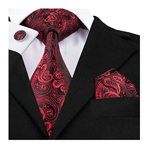 Dubulle Paisley Jacquard Tie Set Mens Woven Silk Necktie Pocket Square Red Black Dark Color Tie - Pattern Necktie Cufflinks