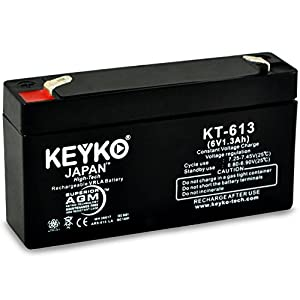 Nonin Medical 8604P Printer Replacement 6V 1.3Ah SLA Sealed Lead Acid AGM Rechargeable Replacement Battery Genuine KEYKO - F1 Terminal - P by KEYKO MITSUKO-KAI Ltd