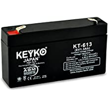 LEOCH DJW6-1.2 6V 1.2Ah / REAL 1.3Ah BACKUP BATTERY SLA Sealed Lead Acid AGM Rechargeable Replacement Battery Genuine KEYKO F1