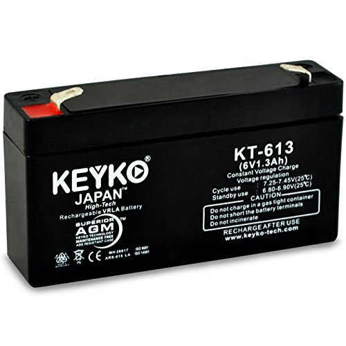 GE Simon & XT Panel 6-1.3 6V 1.2Ah/REAL 1.3Ah SLA Sealed Lead Acid AGM Rechargeable Replacement Battery Genuine KEYKO ()