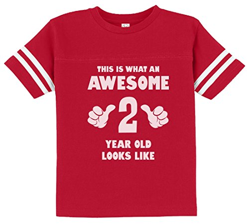 This is What an Awesome 2 Year Old Looks Like Funny Toddler Jersey T-Shirt 2T Red -