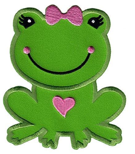 Embroidered Applique Onesie - PatchMommy Iron On Patch, Girl Frog - Appliques for Kids Children