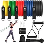 Resistance Bands, 5 Colors150 LB Exercise Bands Workout Set with Handles Ankle Strap Door Anchor Natural Latex