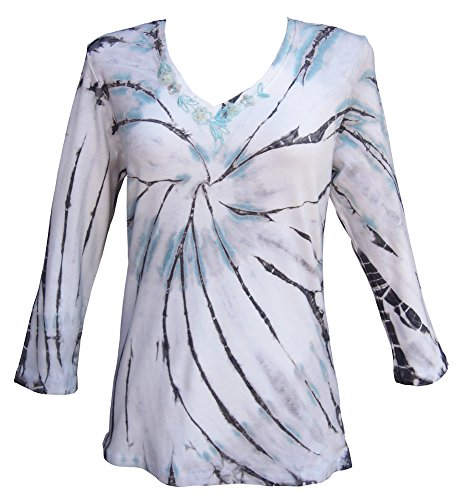 Nature Art Women Cotton Tie Dye Top Sequined V Neck 3/4 Sleeve Shirt Seafoam XL (Sequined 3/4 Sleeve Top)
