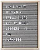 Felt Letter Board by Momentum Home | 16 Inch x 20 Inch Wood Frame with 300 Letter Board Letters | Gray Felt Letter Board