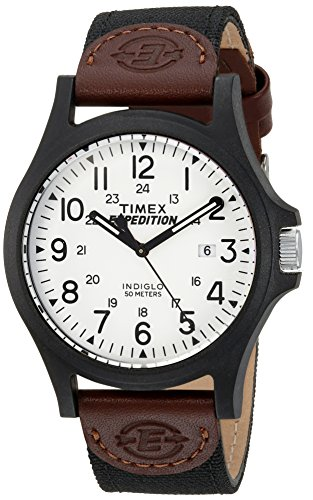 Timex Men's TW4B08200 Expedition Acadia Black/Brown/White Leather/Nylon Strap Watch Brown Expedition Watch Band