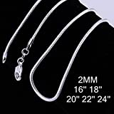 Zhiwen 5pcs 925 Sterling Silver 2MM Rope Chain Lobster Claw Clasp Necklace Jewelry For Men And Women(16-24 Inch)
