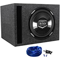 """Package: Boss Audio Armor AR12D 12 Dual 4-Ohm + Rockville RSV12 Single 12"""" Vented Subwoofer Enclosure + Sub Box Wire Kit With 14 Gauge Speaker Wire + Screws + Spade Terminals"""