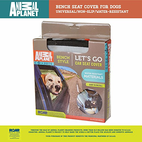 Animal Planet Dog Car Seat Cover 600d - Bench Seat Cover for Dogs - Universal/Non-slip/Water-Resistant (Animal Car)