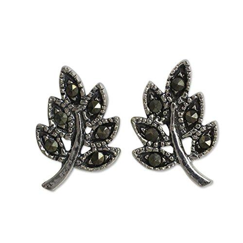 NOVICA Marcasite .925 Sterling Silver Stud Earrings 'Petite (Novica Marcasite Earrings)