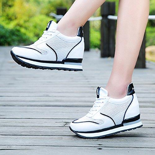 Talón Blanco Cuña Mujer H De Negro Sneakers Plataforma Para mastery Zapatillas Malla Tacón 8cm Deporte Altas fzq6fxg