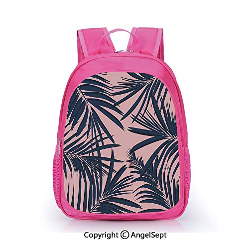 (Custom Kid's Backpack Waterproof Cartoon Picture,Summer Exotic Floral Tropical Palm Tree Leaf Banana Plant Hawaii Decorative Night Blue Pale Pink,15.7inch,School Bag For Unisex Kids)