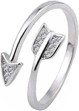 Anillos de flecha de cristal bañados en plata para mujer ajustable anillo de compromiso flecha mujer plata: Amazon.es: Hogar