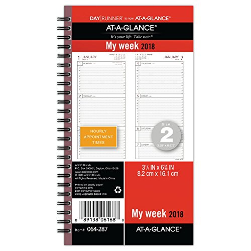 AT-A-GLANCE Day Runner Weekly Planner Refill, January 2018 - December 2018, 3-1/4