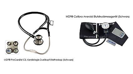 MDF procardial C3, cardiología Dos estetoscopio de (Negro) y MDF Calibra esfigmomanómetro aneroide