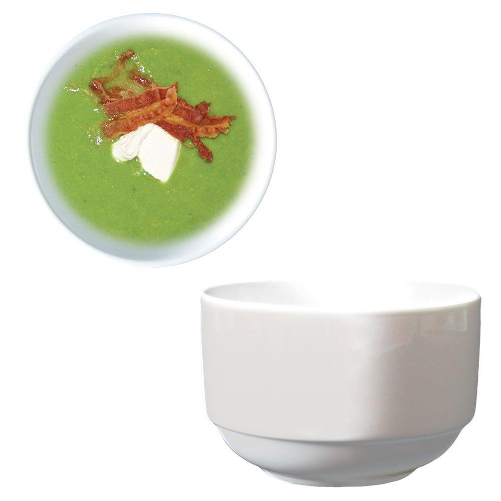Dauerhaft Dinnerware Stacking Bouillon/Bouillon Cups 8 oz Porcelain Super White High-end Restaurant & Hotel Quality (6) 90312