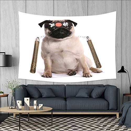 smallbeefly Pug Wall Tapestry Ninja Puppy with Nunchuk Karate Dog Eastern Warrior Inspired Costume Pug Image Home Decorations for Living Room Bedroom 80