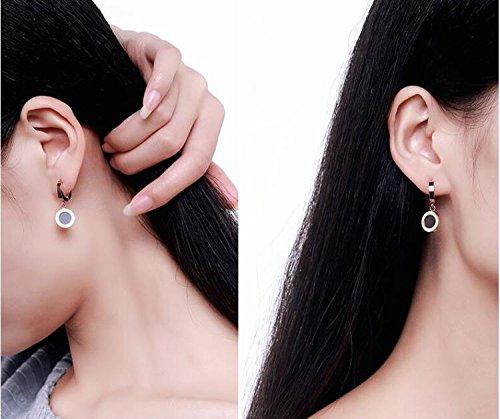 Hypoallergenic Korea Creative Fashion Black Roman Earrings earings Dangler Eardrop Ear Buckle Women Girls 18k Rose Gold-Plated Steel
