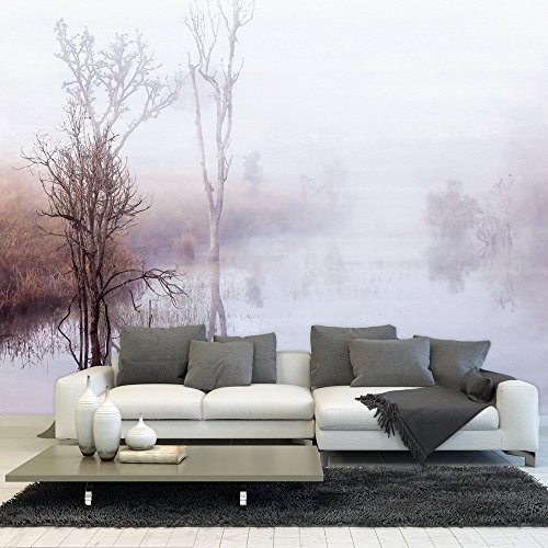 Large Wall Mural Peaceful Lake and Field in a Misty Winter Morning Vinyl Wallpaper Removable Wall Decor