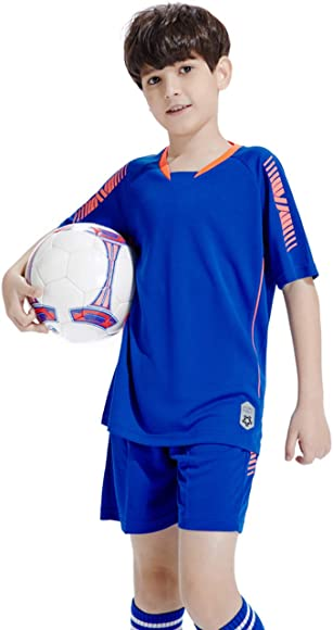 besbomig Boys Football Tracksuits Kids Breathable Sports Uniform Jerseys Short Sleeve T-Shirts /& Shorts /& 1pair High Knee Socks Teamswear Sets