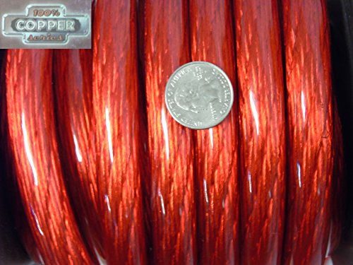 100% Copper Red 0 AWG Gauge 12 Feet Foot Spool of Red Power Ground Wire (12' Truck Audio)