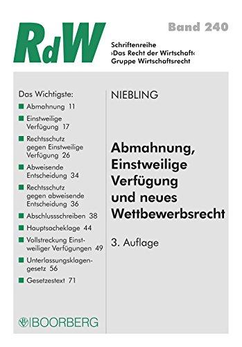 download pdf by abmahnung einstweilige verfgung und neues wettbewerbsrecht - Einstweilige Verfugung Muster