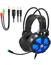 YIMAN Gaming Headset Stereo Gaming Earphones Headphones with Microphone and Volume Control, 2-in-1 Line for PC, MAC, NEW Xbox One, PS4, Smartphone, Nintendo Switch LED Lights