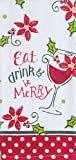 Eat Drink and Be Merry 16 x 26 All Cotton Christmas Kitchen Terry Towel