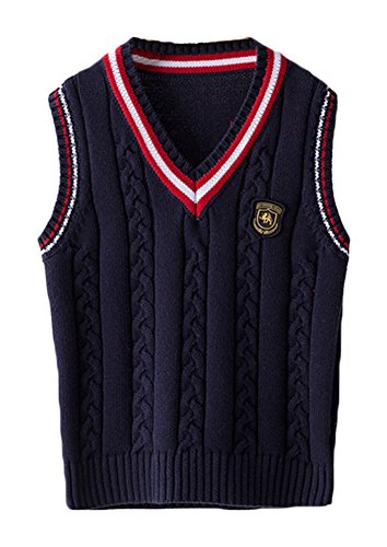 Cable V-neck Sweater Vest - ezShe Boys V Neck Sleeveless Pullover Cable Kinted School Sweaters, Navy  ,11-12 Years