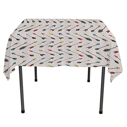 Arrow Decor Collection Tablecloth Birthday Colored Arrowheads and Arrow Tails Pattern Decorative Art Image Orange Yellow Turquoise All Weather Outdoor Table Cloth Spring/Summer/Party/Picnic 60 by 90 ()