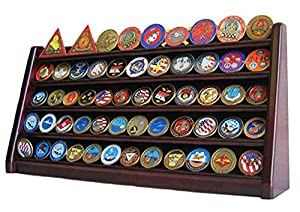 5 Rows Challenge Coin Holder Display Stand, Solid Wood, from Display Gifts Inc.