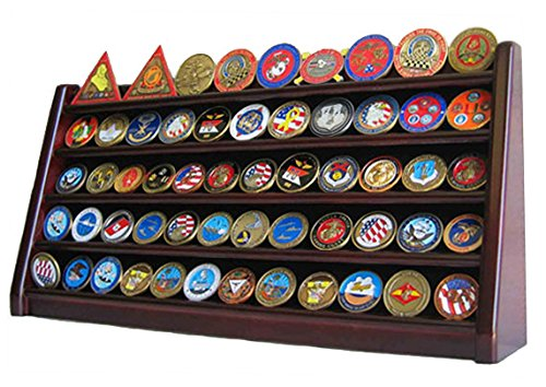 5 Rows Challenge Coin/Casino Chip Holder Display Stand, Mahogany Finish (COIN5-MAH)