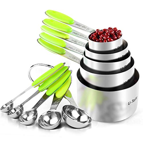 (Measuring Cups : U-Taste 18/8 Stainless Steel Measuring Cups and Spoons Set of 10 Piece, Upgraded Thickness Handle(Lime Green))