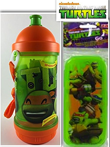 Safe & Awesome Teenage Mutant Ninja Turtles (TMNT) Lunchtime, Dining, & Back to School Bundle: 2 Items- BPA Free Sip-N-Snack Canteen & (Blue Ninja Turtle Name)