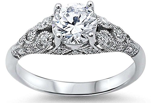 Sterling Silver Women's Vintage Antique Style Round Cubic Zirconia Engagement Ring Sizes 4