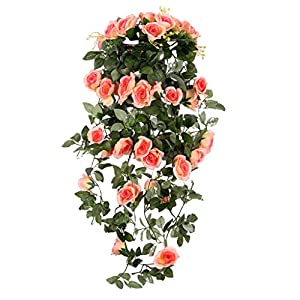 MagiDeal Rural Style Artificial Rose Flower Home Party Wedding Wall Hanging Decor 7 Colors 65