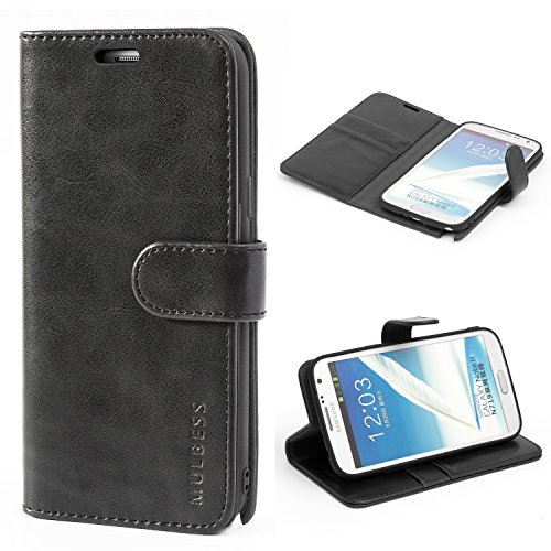 Mulbess Galaxy Note 2 Protective Cover, Magnetic Closure RFID Blocking Luxury Flip Folio Leather Wallet Phone Case with Card Slots and Kickstand for Samsung Galaxy Note 2, Black (Note 2 Case Best)