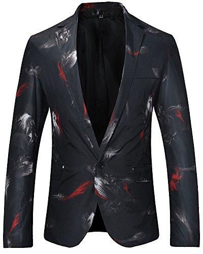 Da Fit Casual Slim Uomo Cappotto Nero Blazer Elegante Giacca Moda TOgxXx