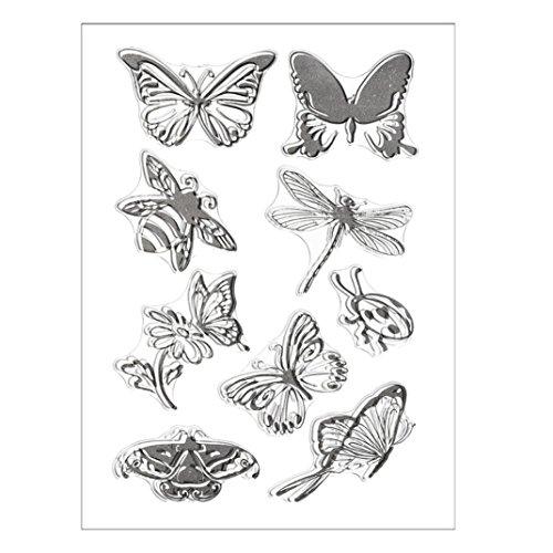 (Transer Silicone Butterfly Flower Embossing Folder Template DIY Card Scrapbooking Decor (D, Black))